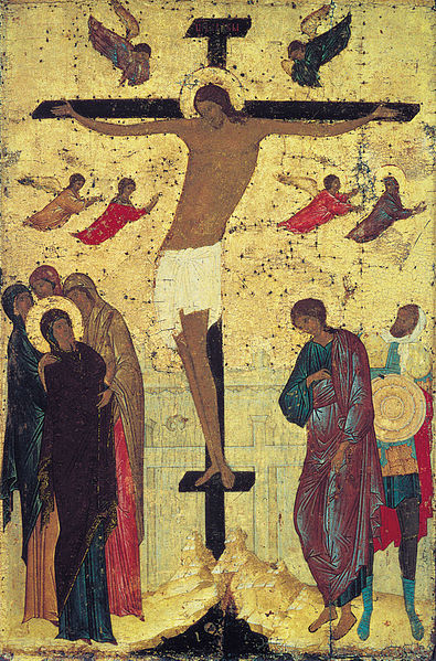 File: Crucifixion of Jesus, Russian icon by Dionisius, 1500.jpg