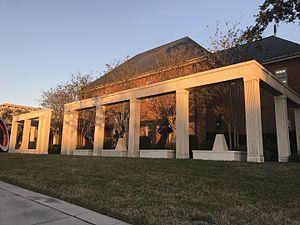 Cummer Museum of Art and Gardens - The Barnett building behind the museum's sculpture garden.