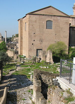Argiletum - View of the Curia Iulia, with the remains of the Argiletum, beneath Medieval layers, in the foreground.