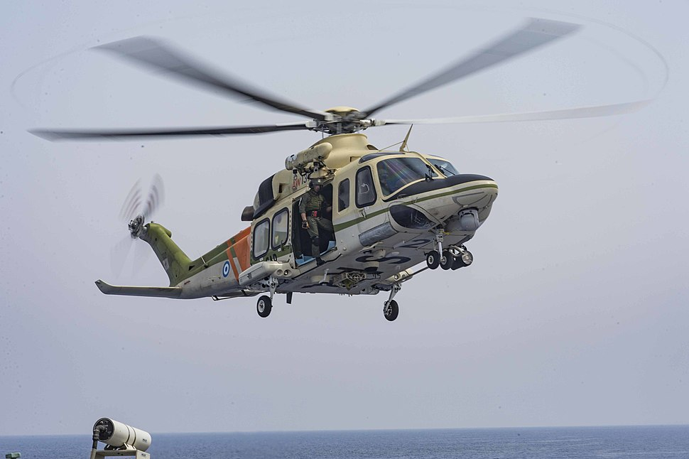Cyprian AW139 search and rescue helicopter departs the USS Stout (DDG 55)