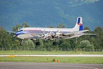 Red Bull GmbH - Red Bull DC-6B landing at Salzburg
