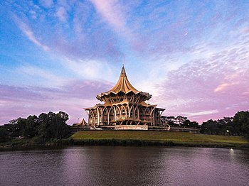 Sarawak Parliament Building. Sarawak Parliament Building is located at the north bank of the Sarawak River.