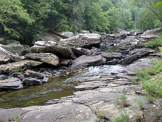 Catoosa Wildlife Management Area - Sandstone boulders along Daddys Creek, a deeply entrenched gorge