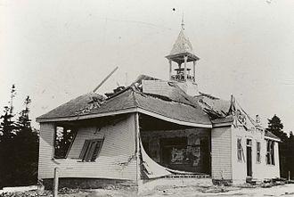 Tufts Cove, Nova Scotia - Image: Damage to Tufts Cove School after Halifax Explosion, Tufts Cove, Dartmouth, Nova Scotia, Canada, 1917 1918