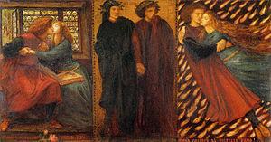 Francesca da Rimini - Paolo and Francesca da Rimini by Dante Gabriel Rossetti (1862; Cecil Higgins Art Gallery, Bedford)