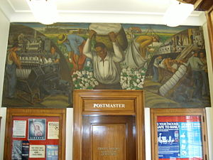 Dardanelle Agriculture and Post Office - Cotton Growing, Manufacture, and Export, WPA mural by Ludwig Mactarian