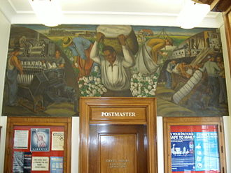 Dardanelle, Arkansas - An oil on canvas mural, Cotton Growing, Manufacture, and Export, painted in 1939 by Ludwig Mactarian is on display in the Dardanelle post office