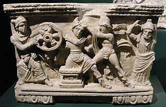 Myrtilus - Death of Myrtilus depicted on a cinerary urn