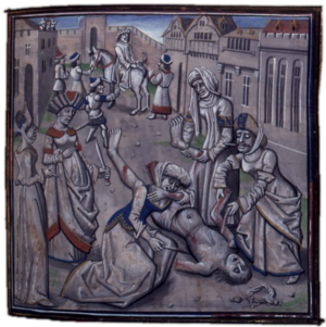 Andronikos I Komnenos - A medieval depiction of the death of Andronikos. Original in the Bibliothèque Nationale, France.