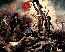Eugène Delacroix pentrante La Liberté-gvidiformikon le peuple, virinon ĉe barikadoj tenantaj francan flagon kaj avancadon