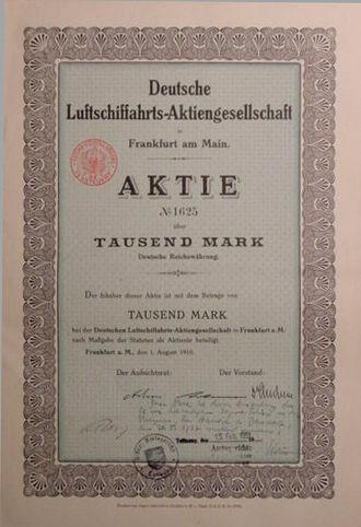 DELAG - DELAG share certificate, 1910