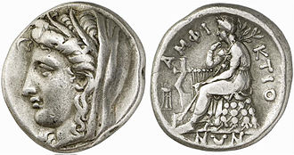 Stater - Silver stater from Delphi, 338/6–334/3 BC. Obverse: head of Demeter left, wearing grain-ear wreath and veil. Reverse: Apollo seated left on omphalos, tripod to left, ΑΜΦΙΚΤΙΟΝΩΝ around.