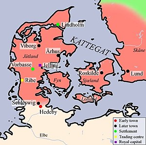 Hedeby - Map of Viking Denmark with Hedeby at the southern edge.