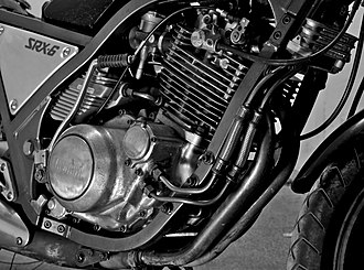 Single-cylinder engine - Detail view of the large single-cylinder air-cooled engine on the Yamaha SRX600.