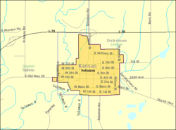 Detailed map of Solomon, Kansas