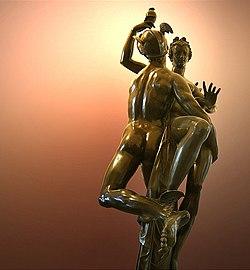 Mercúrio carregando Psiquê, com o vaso de Perséfone, para o Olimpo. Bronze de Adriaen de Vries, Louvre