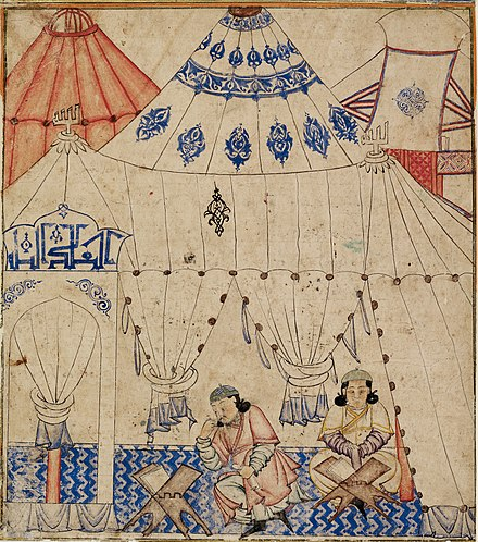 The Mongol ruler, Ghazan, studying the Qur'an. DiezAlbumsStudyingTheKoran.jpg