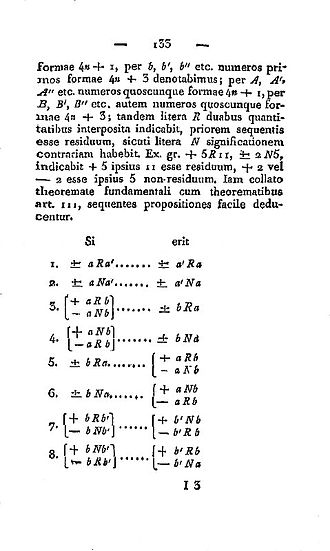 Quadratic reciprocity - Part of Article 131 in the first edition (1801) of the Disquisitiones, listing the 8 cases of quadratic reciprocity