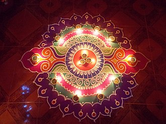Rangoli - A rangoli on the occasion of Diwali, Goa, India.