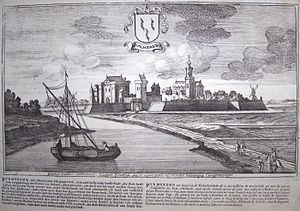 Purmerend - Drawing of the Purmerend skyline from 1674.