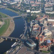 Dresden aerial photo City Augustus bridge across river Elbe cathedrale Church of Our Lady photo 2008 Wolfgang Pehlemann Wiesbaden Germany HSBD4389.jpg