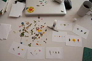 Dried flowers and cards on a desk