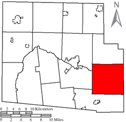 Location of Dudley Township, Hardin County, Ohio