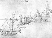 Der Hafen von Antwerpen, Federzeichnung (1520), Albertina, Wien (Quelle: Wikimedia)