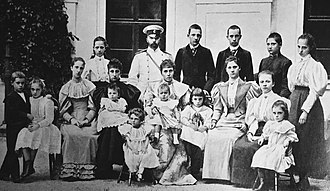 Prince Xavier of Bourbon-Parma - Duke Robert I of Parma and his family. Prince Xavier is the young boy next to his mother in the center of the picture.