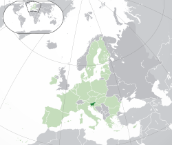 Location of  Slovenia  (dark green)– in Europe  (green & dark grey)– in the European Union  (green)