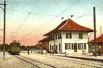 Bätterkinden - Post card showing Elektrischen Schmalspurbahn Solothurn-Bern (ESB, now RBS) trolley station in Bätterkinden in 1916.