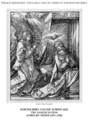 Early life of Christ in the Bowyer Bible print 1 of 21. annunciation to Mary. Durer.png