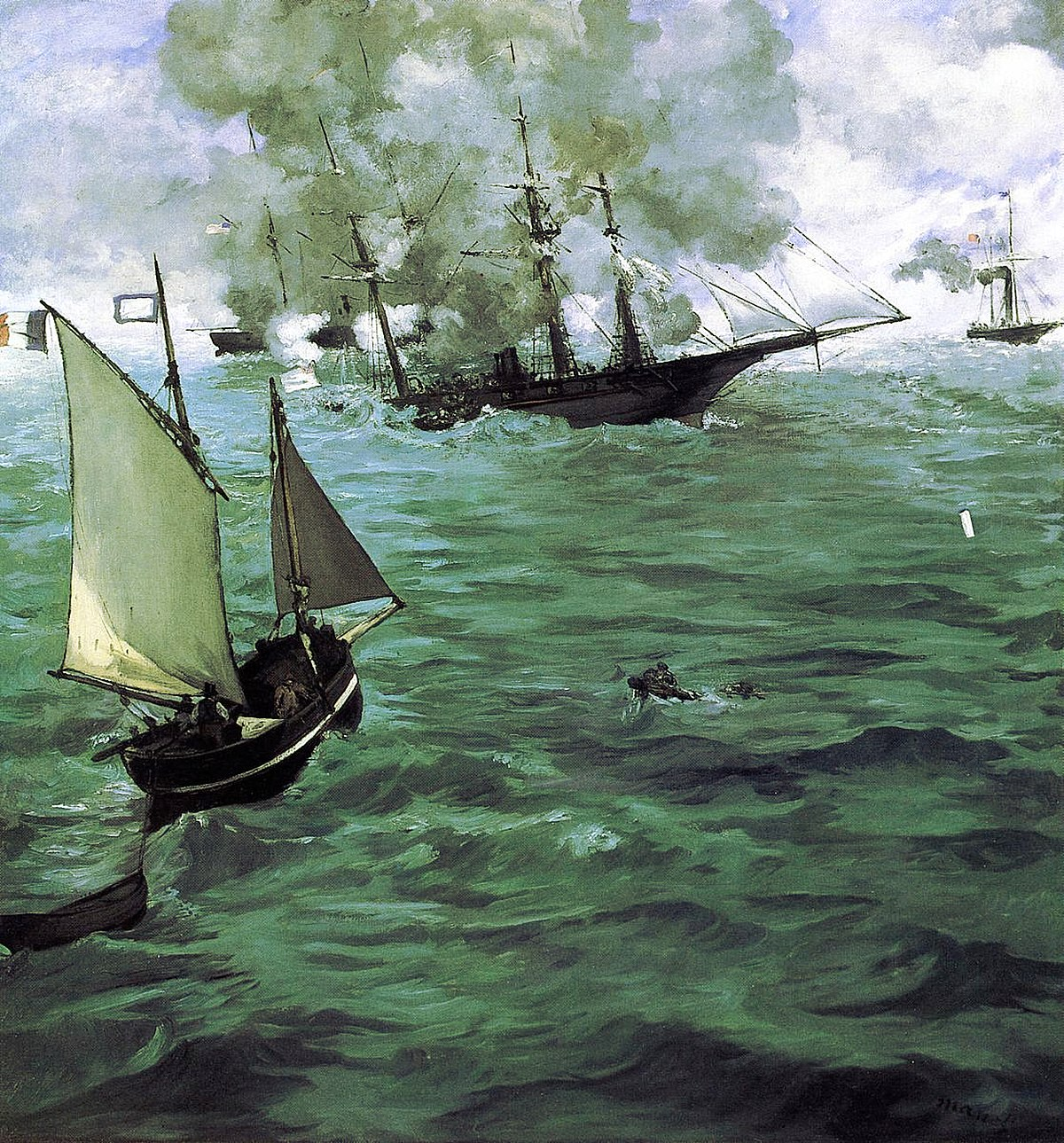The Battle of the Kearsarge and the Alabama ( Édouard Manet, 1864)