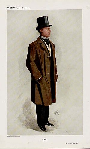 "Edward Tennant, 1st Baron Glenconner - ""Glen"". Caricature by ""WHO"" published in Vanity Fair in 1910."