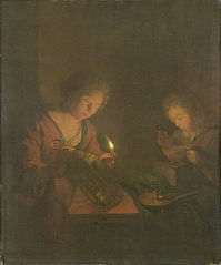 A girl putting a candle in a lantern and a boy testing the fire in a footwarmer
