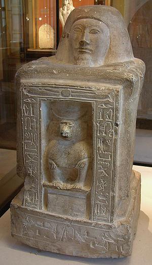 Scribe equipment (hieroglyph) - Image: Egypte louvre 112 statue
