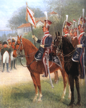 Napoleon with the Elba Squadron of volunteers from the 1st Polish Light Cavalry of his Imperial Guard Elba Squadron of 1er regiment de chevau-legers lanciers polonais de la Garde imperiale.PNG