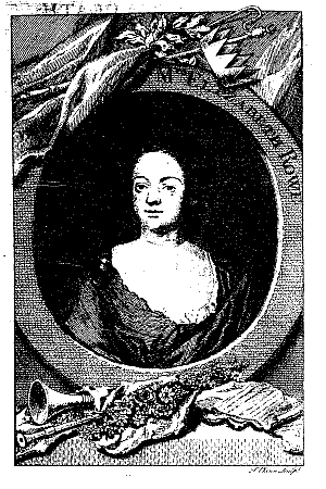 Elizabeth Singer Rowe - Frontispiece to Friendship in Death,  from the 1752 edition, engraved by George Vertue ca. 1725