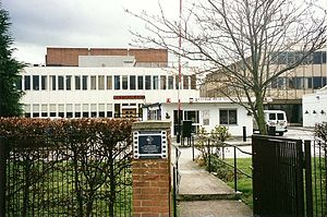 Elstree Studios - The Main Gate entrance at Shenley Road (late 1990s).