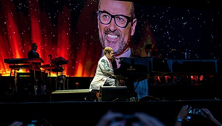 Elton John performing a tribute to the late George Michael at Twickenham, London in June 2017 Elton John - Twickenham Stoop - Saturday 3rd June 2017 EltonTwicStoop030617-14 (34287287133).jpg