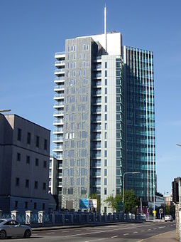 The Elysian tower in Cork is the second tallest storeyed building in the Republic of Ireland. Elysian tower Cork.JPG