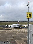 Emirates A380 taxiing to gate at Düsseldorf Airport.jpg