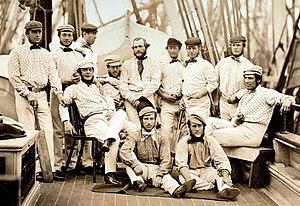 Cricket - The first English team to tour overseas, on board ship to North America, 1859