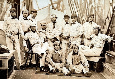 The first English team to tour overseas, on board ship to North America, 1859 England in North America 1859.jpg