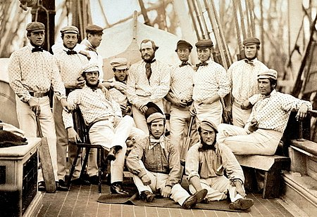Cricket: the first English touring team pictured on board ship at  Liverpool: standing at left Robert Carpenter, William Caffyn, Tom Lockyer;  middle row John ...