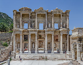 The ruif o the Librar o Celsus has collapsed, but its lairge façade is still intact.