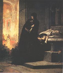 Erzsébet és Mária királynők Nagy Lajos sírjánál.jpg