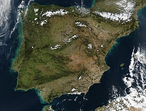 Satellite view of the Iberian peninsula