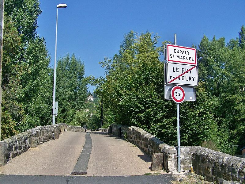 Entrance sign to the French commune of Espaly Saint-Marcel when leaving Le Puy-en-Velay in Haute-Loire.