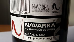 Navarra (DO) - Official DO label as found on the back of a Navarra region wine bottle